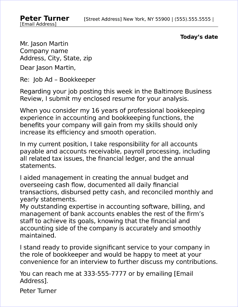 job application letter for accountant post