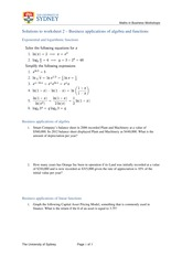 mathematics with business applications worksheets answers