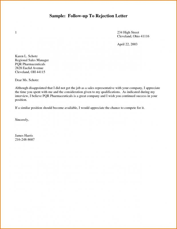follow up letter for job application status