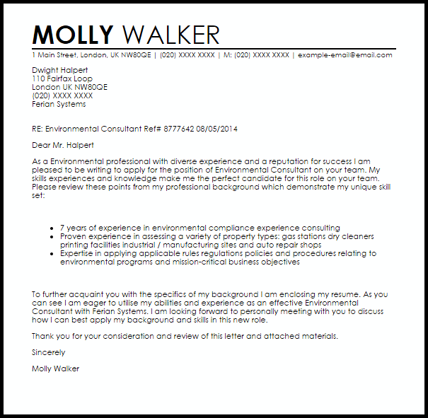 cover letter for consultant job application